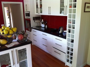 Black and Red Benchtops